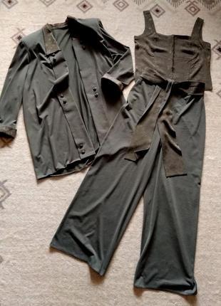 36-38р. дизайнерский трикотажный хаки костюм-тройка