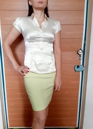 Атласная, нежно-жемчужная блузка