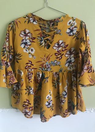 Блузка рубашка от zara цветочный принт