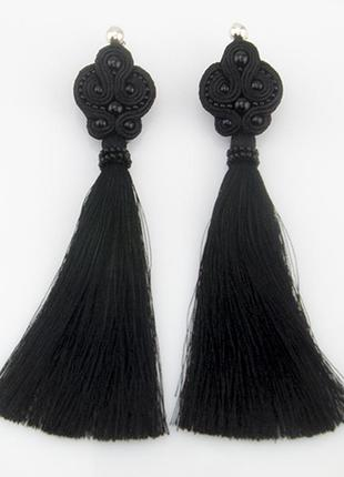 Черный сутаж. крутые серьги