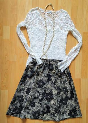 Летняя юбка из искусственного шелка,цветочный принт.англия!