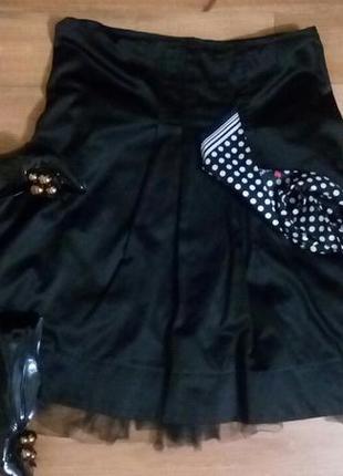 Черная атласная юбка на подкладе