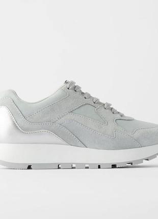 Кожаные кроссовки кеды на платформе кожа натуральная замш серебряные zara оригинал