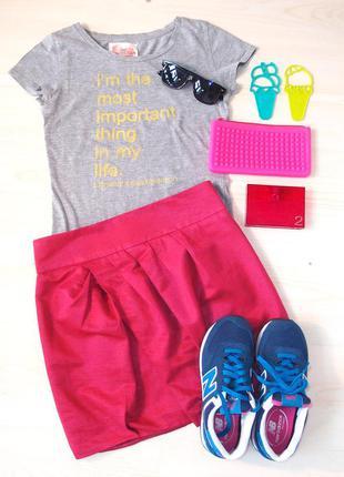 Крутая ярчайшая малиновая розовая короткая юбка необычного кроя тюльпан asos размер m