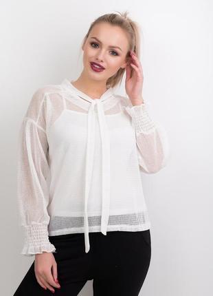 Классная белая блуза с майкой, длинный рукав