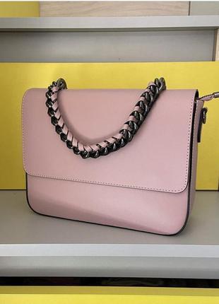 Сумка кожаная женская розовая кроссбоди vera pelle новая елегантная пудра