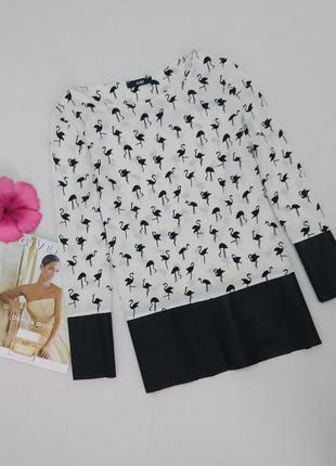 Стильная блуза с принтом фламинго и отделкой из экокожи