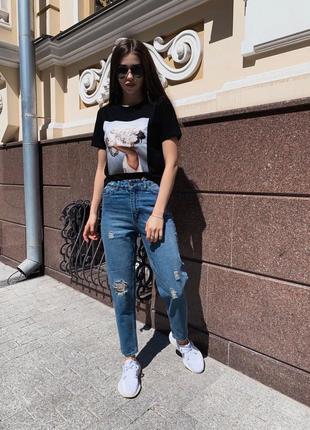 Олдскульные рваные  джинсы мом