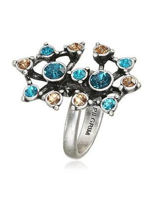 Кольцо посеребренное с кристаллами pilgrim дания элитная ювелирная бижутерия