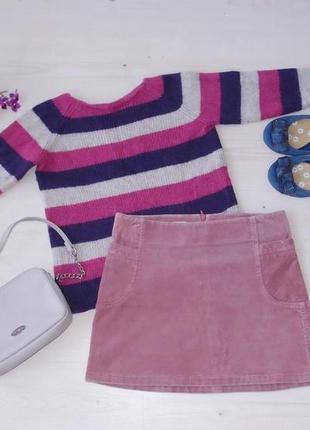 Нежная розовая мини юбка а-силуэта ретро в стиле 70-х годов цвет розовый кварц размер s