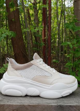 Кожаные облегченные кроссовки с перфорацией от производителя 36-40р шкіряні кросівки3 фото