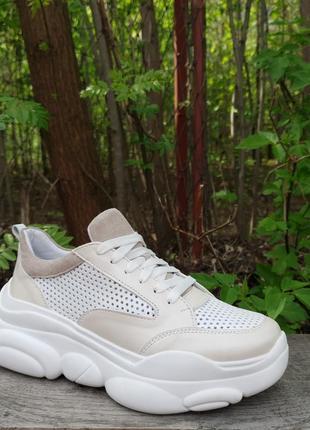 Кожаные облегченные кроссовки с перфорацией от производителя 36-40р шкіряні кросівки2 фото