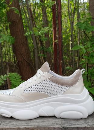 Кожаные облегченные кроссовки с перфорацией от производителя 36-40р шкіряні кросівки4 фото