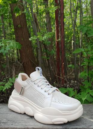 Кожаные облегченные кроссовки с перфорацией от производителя flamanti 36-40р