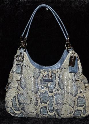 Красивая серо-голубая кожаная сумка coach, оригинал,