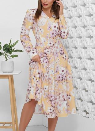 Цветочное платье-миди с юбкой-полусолнце и v-образным вырезом (3 цвета/42,44,46,48,50 )