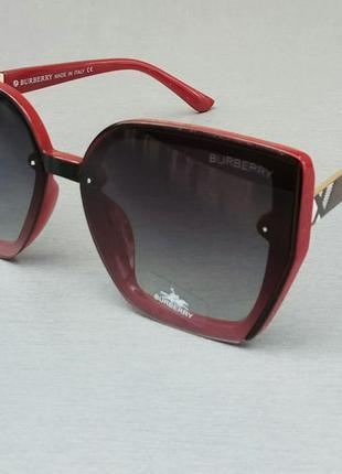 Burberry очки женские солнцезащитные большие черные с красным