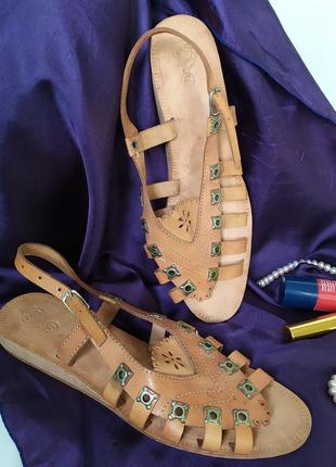 Бежевые кожаные босоножки сандалии с перепонками по типу римских гладиаторов, римлянки