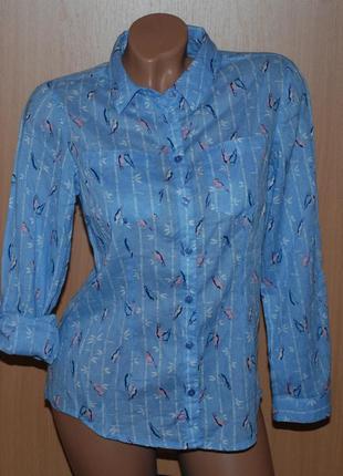 Рубашка  принтованая бренда m&со /100%хлопок / регулируемый рукав/