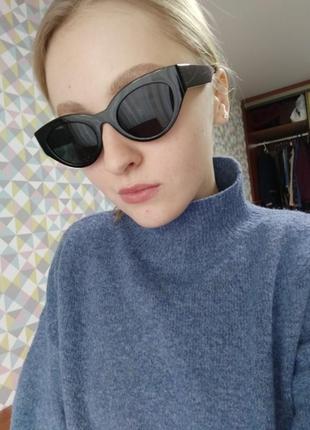 Очки окуляри темные черные солнце солнцезащитные стиле 60-х трендовые новые3 фото