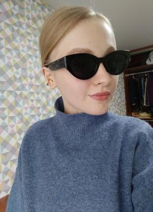 Очки окуляри темные черные солнце солнцезащитные стиле 60-х трендовые новые2 фото