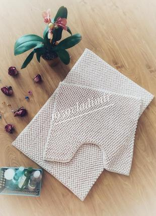 Набор ковриков для ванной комнаты из двух штук, персиковый