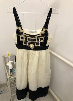Zara натуральный шелк нарядное платье с бисером