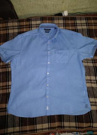 Крутая мужская льняная рубашка лён пог-62 см