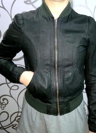 Кожа куртка h&m женская натуральная7 фото