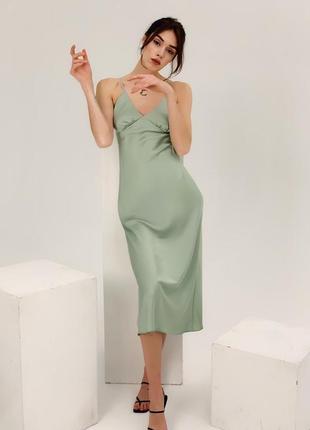 Шелковое миди платье-комбинация на бретелях