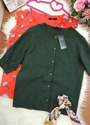 Новая блуза лён с актуальными пуговицами от marks&spencer 🌿
