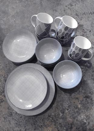 Большой набор посуды столовый сервиз 30 предметов fashion fiora