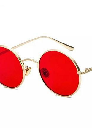 Круглые очки в золотой оправе с красными линзами в стиле ray ban унисекс