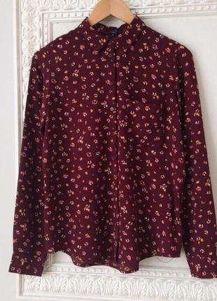 Стильная рубашка блуза бордо принт от amisu
