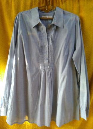 Жіноча світло-голуба бавовняна сорочка, р.48