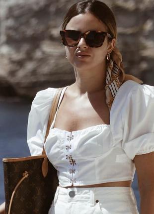 ❤️белый коттоновый кроп топ, блузка, с объемными рукавами