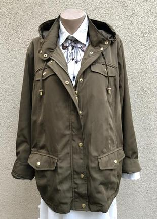 Куртка,парка,ветровка,дождевик с капюшоном,хаки с переливом(блеском)большой размер