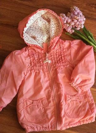 Шикарная двусторонняя куртка ,ветровка для малышки на 12 месяцев