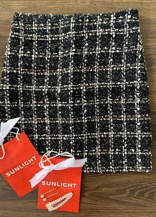 Стильная твидовая юбка xs