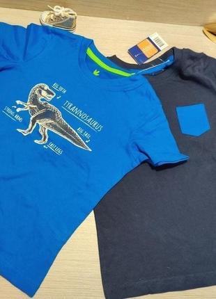 Цена за комплект из 2 суперовых коттоновых футболок с динозаврами для мальчика.