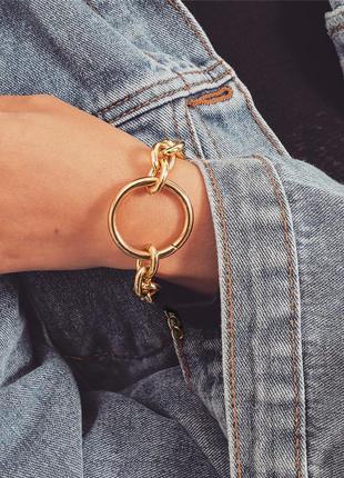 Браслет на руку цепь крупная цепочка с кулоном кольцом под золото новый