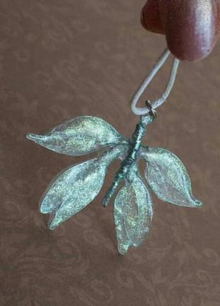 Прозрачный кулон подвеска бабочка мотылёк ручная работа эпоксидная смола серебро