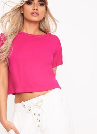 Малиновая укорочённая футболка-топ yes or no