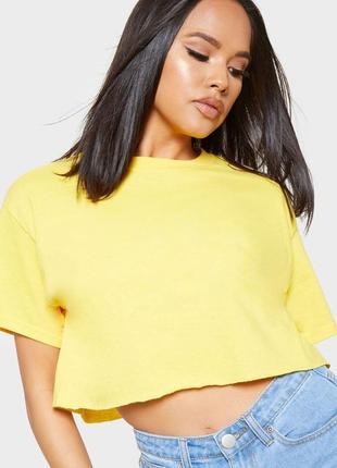 Жёлтая укорочённая футболка-топ yes or no