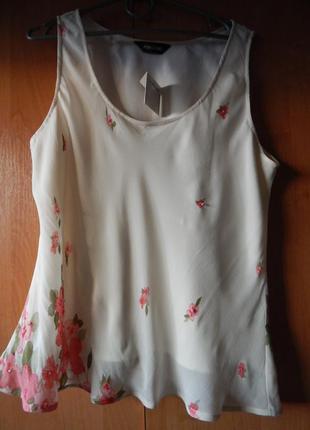 Шифоновая натуральная блуза с цветочками с пайетками и бисером