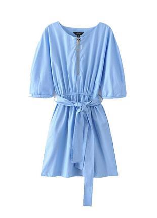 Голубое платье zara с карманами на замочке под пояс, рукава - летучая мышь