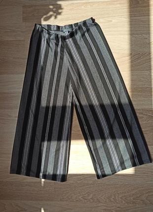 Штаны клюкоты прямые в полосочку на высокой талии свободные штаны