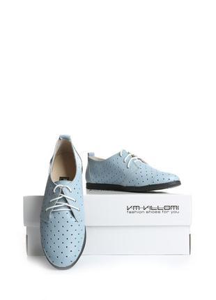 Кожаные женские голубые туфли мокасины на шнурках с перфорацией натуральная кожа