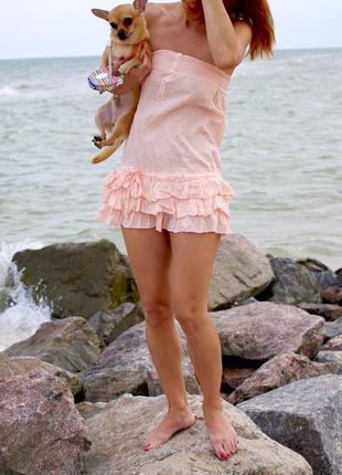Пляжное персиковое платье