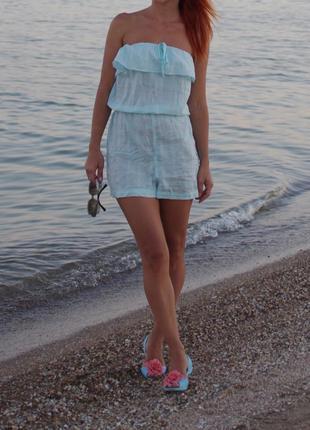 Пляжный ромпер из катона мятный